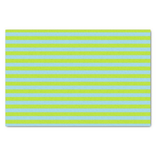 Lime Green and Pastel Blue Stripes Tissue Paper