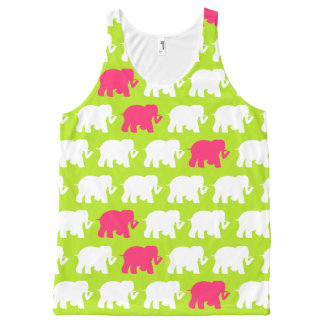 Lime green and pink elephants All-Over print tank top