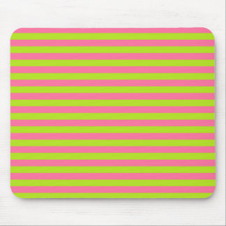Lime Green and Pink Stripes Mouse Pad