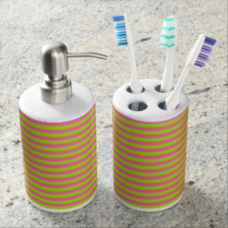 Lime Green and Pink Stripes Soap Dispenser And Toothbrush Holder