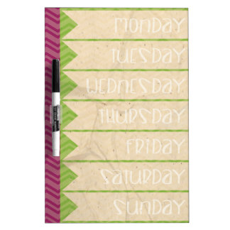Lime Green and Plum To-Do / Schedule / Chore List Dry Erase Board