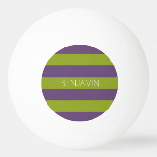 Lime Green and Purple Rugby Stripes Custom Name Ping Pong Ball