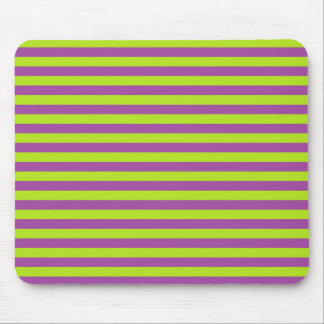 Lime Green and Purple Stripes Mouse Pad