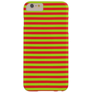 Lime Green and Red Stripes Barely There iPhone 6 Plus Case