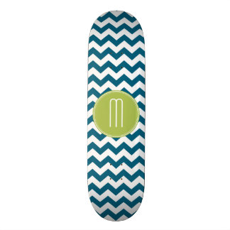 Lime Green and Teal Chevron Pattern Monogram 19.7 Cm Skateboard Deck