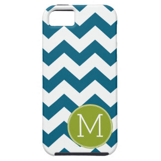 Lime Green and Teal Chevron Pattern Monogram iPhone 5 Case