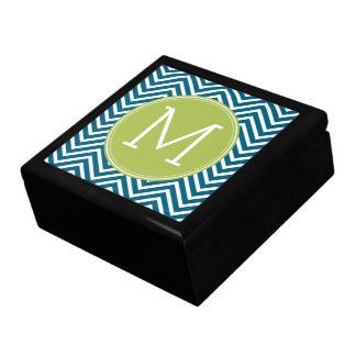 Lime Green and Teal Chevron Pattern Monogram Large Square Gift Box