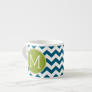 Lime Green and Teal Chevron Pattern Monogram Espresso Mugs