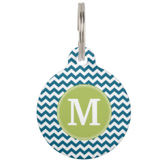 Lime Green and Teal Chevron Pattern Monogram Pet Name Tag