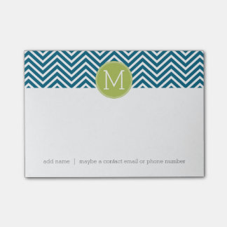 Lime Green and Teal Chevron Pattern Monogram Post-it® Notes