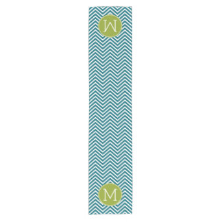Lime Green and Teal Chevron Pattern Monogram Short Table Runner