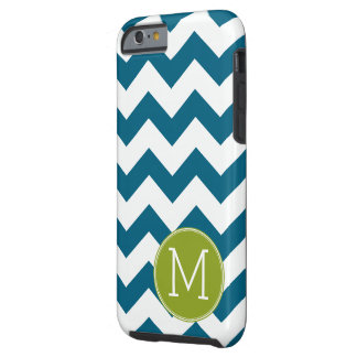 Lime Green and Teal Chevron Pattern Monogram Tough iPhone 6 Case