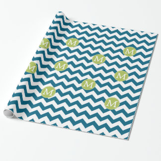 Lime Green and Teal Chevron Pattern Monogram Gift Wrapping Paper
