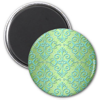 Lime Green and Teal Fancy Damask 6 Cm Round Magnet