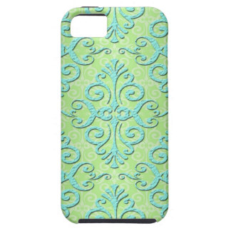 Lime Green and Teal Fancy Damask iPhone 5 Cases