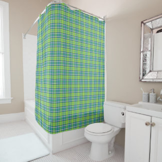 Lime Green and Turquoise Plaid Shower Curtain