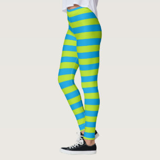 Lime Green and Turquoise Stripes Leggings