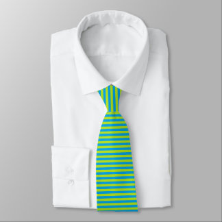 Lime Green and Turquoise Stripes Tie