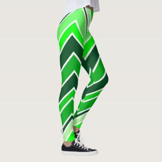 Lime green and White Chevron Leggings