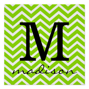 Lime Green and White Chevron Monogram Print