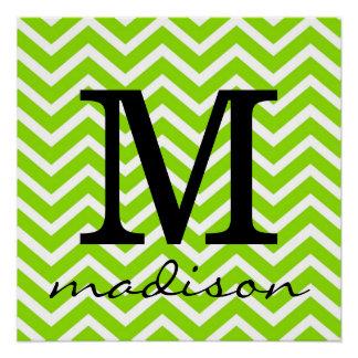 Lime Green and White Chevron Monogram Print