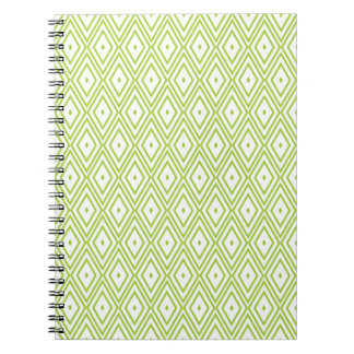 Lime Green and White Diamonds Note Book
