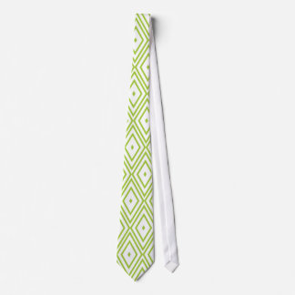 Lime Green and White Diamonds Tie