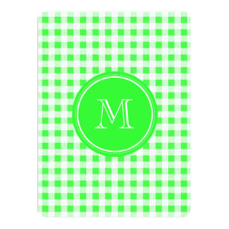 Lime Green and White Gingham, Your Monogram Personalized Invite