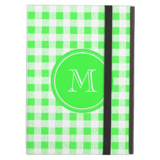 Lime Green and White Gingham, Your Monogram iPad Air Cover