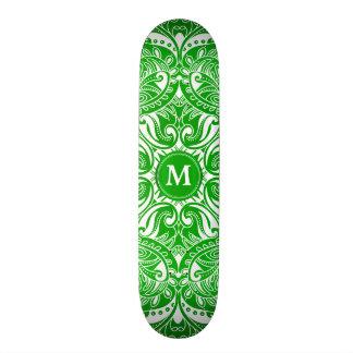 Lime Green and White Mandala  - Monogram Custom Skateboard