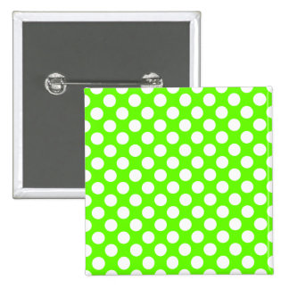 Lime Green and White Polka Dots 15 Cm Square Badge