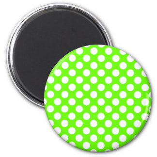 Lime Green and White Polka Dots Magnet
