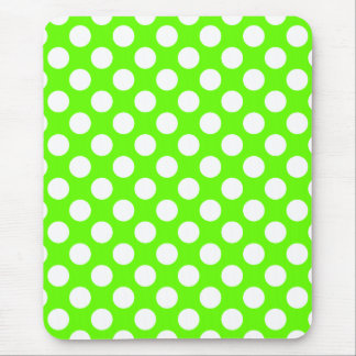Lime Green and White Polka Dots Mouse Mat
