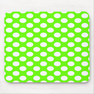 Lime Green and White Polka Dots Mouse Pads