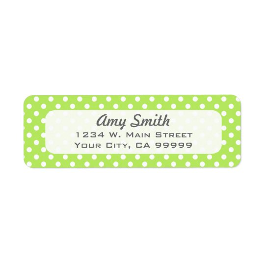 Lime Green and White Polka Dots Return Address