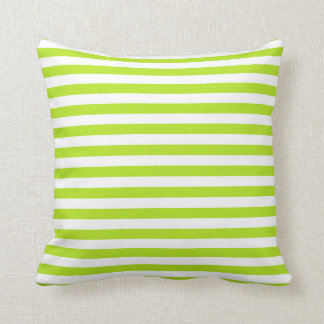 Lime Green and White Stripes Cushion