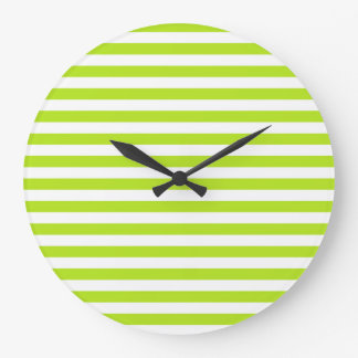 Lime Green and White Stripes Large Clock