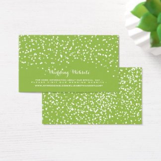 Lime Green and White Wedding Confetti Pattern Business Card