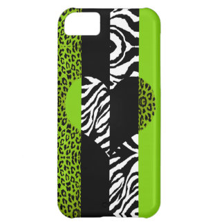 Lime Green and Zebra Animal Print Heart iPhone 5C Case