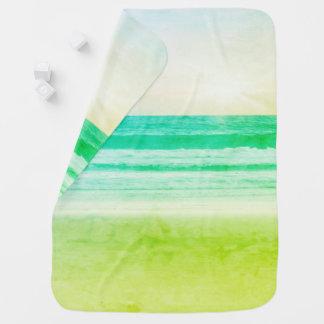 lime green aqua sunset Receiving Blankets
