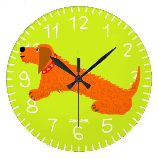 Lime Green Art Clock: John Dyer Sausage Dog