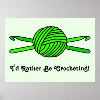 Lime Green Ball of Yarn & Crochet Hooks -Version 2 Poster
