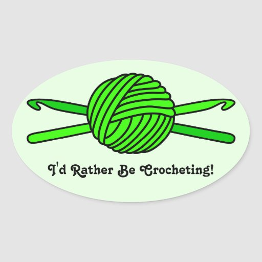 Lime Green Ball of Yarn & Crochet Hooks -Version 2 Stickers