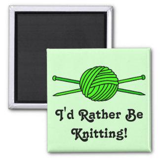 Lime Green Ball of Yarn & Knitting Needles Fridge Magnets