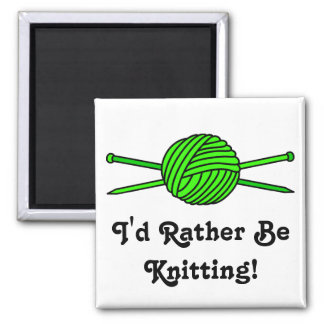Lime Green Ball of Yarn & Knitting Needles Magnets