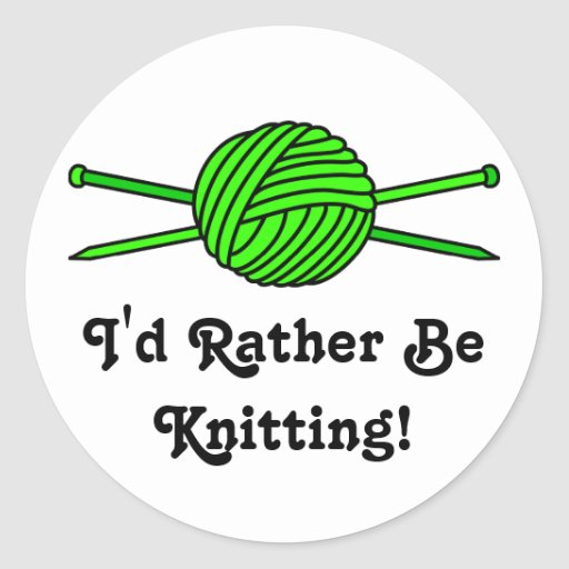 Lime Green Ball of Yarn & Knitting Needles Stickers