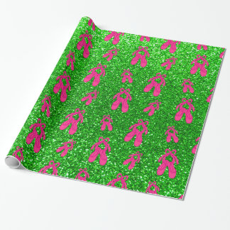 Lime green ballet slippers glitter pattern wrapping paper