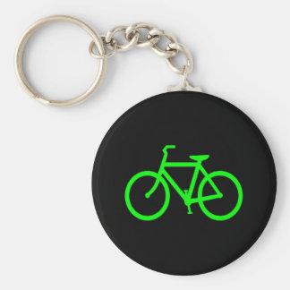 Lime Green Bike Basic Round Button Key Ring
