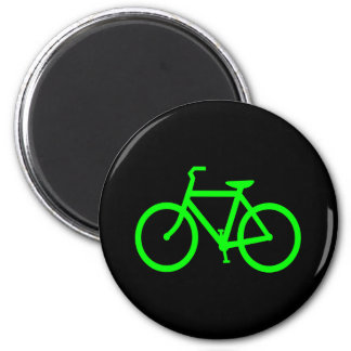 Lime Green Bike 6 Cm Round Magnet