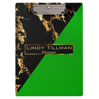 Lime Green, Black and Gold Marble Design Clipboard